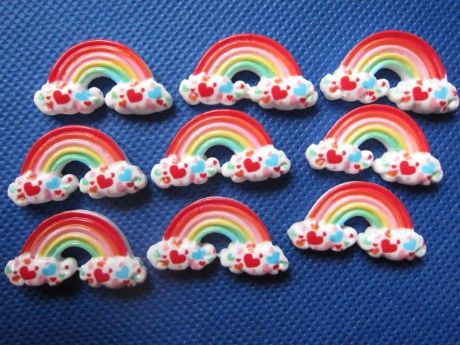 5 x 28mm RAINBOW FLAT BACK RESIN EMBELLISHMENTS HEADBANDS BOWS CARD MAKING PLAQUES